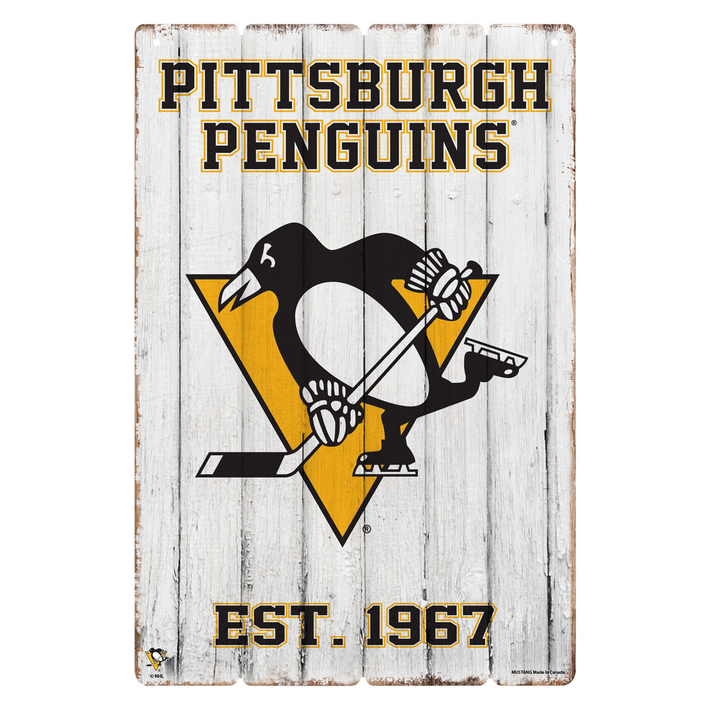 Pittsburgh Penguins 24x16 Established Faux  Wood Sign