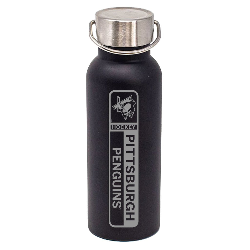 17oz Pittsburgh Penguins DuraEtch Powder Coated Stainless Steel Water Bottle - Black