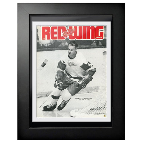 Detroit Red Wings Program Cover - Gordie Howe Black & White