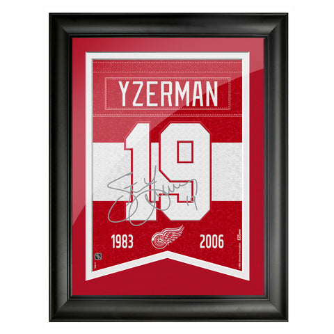 Detroit Red Wings 12x16 Yzerman Framed Player Number with Replica Autograph