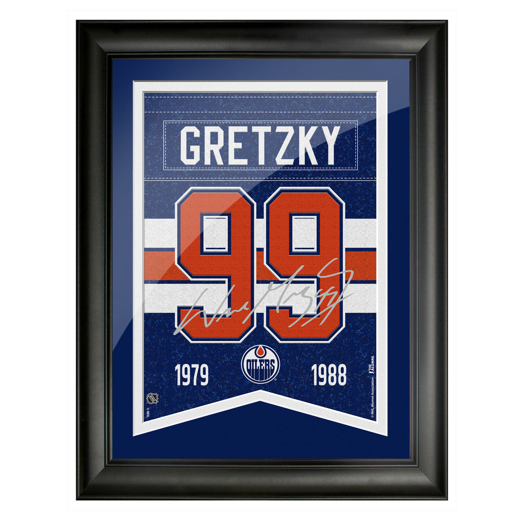 Edmonton Oilers 12x16 Gretzky Framed Player Number with Replica Autograph