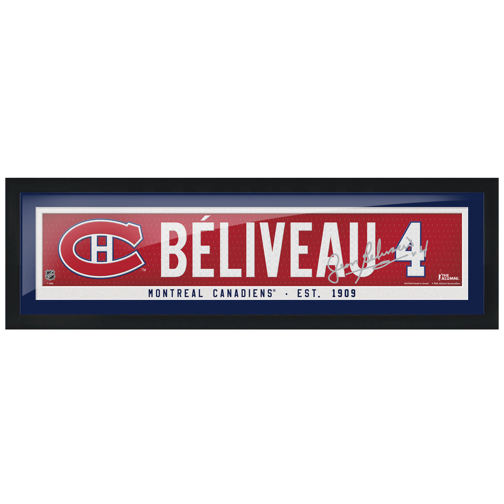 Montreal Canadiens Beliveau Alumni Framed Name Bar with Replica Autograph