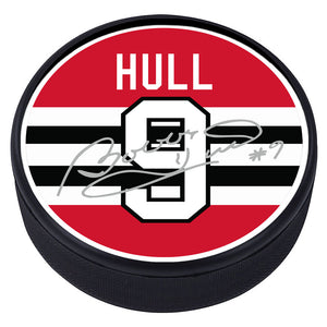 Chicago Blackhawks™ B. Hull Textured Player Puck with Replica Signature