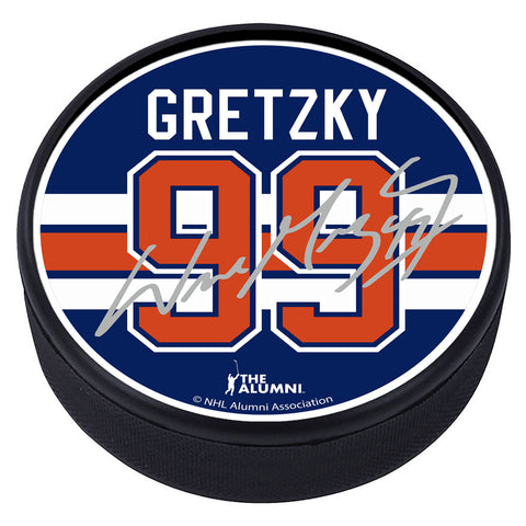Edmonton Oilers™ W. Gretzky Souvenir Player Puck with Replica Signature