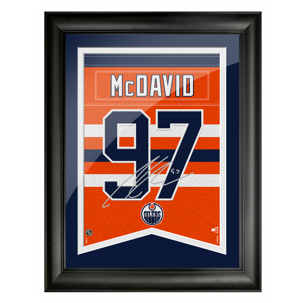 Edmonton Oilers McDavid 12x16 Framed Player Number with Replica Autograph