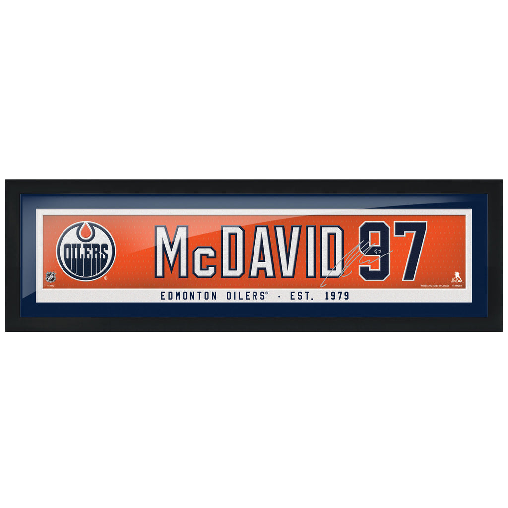 Edmonton Oilers Framed McDavid Player Name Bar with Replica Autograph