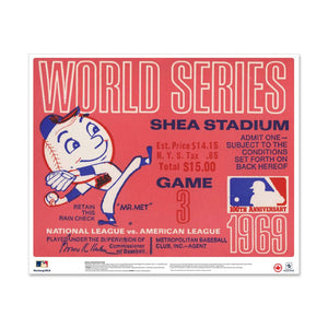 "24"" Repositionable W Series Ticket New York Mets Centre 1969G3C"