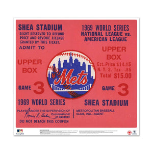 "24"" Repositionable W Series Ticket New York Mets Right 1969G3R"
