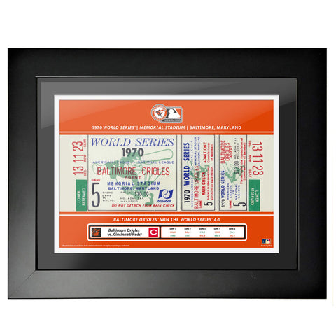 Baltimore Orioles 12x16 1970 Game 5 World Series Framed Ticket