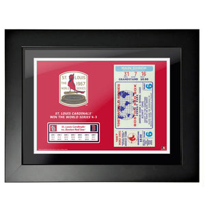 "12""x16"" World Series Ticket Framed Boston Red Sox 1967 G6"