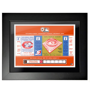 "12""x16"" World Series Ticket Framed Cincinnati Reds 1970 G2"