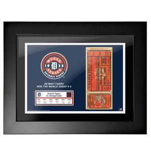 "12""x16"" World Series Ticket Framed Detroit Tigers 1935 G6"