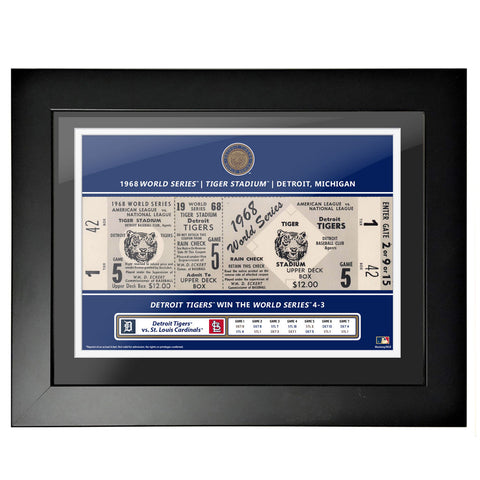 Detroit Tigers 12x16 1968 Game 5 World Series Framed Ticket