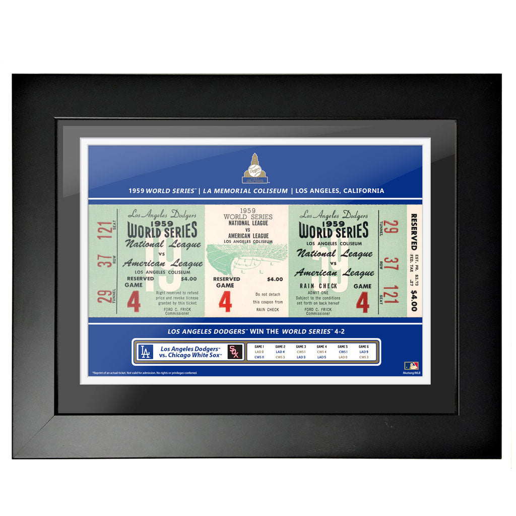 Los Angeles Dodgers 12x16 1959 Game 4 World Series Framed Ticket