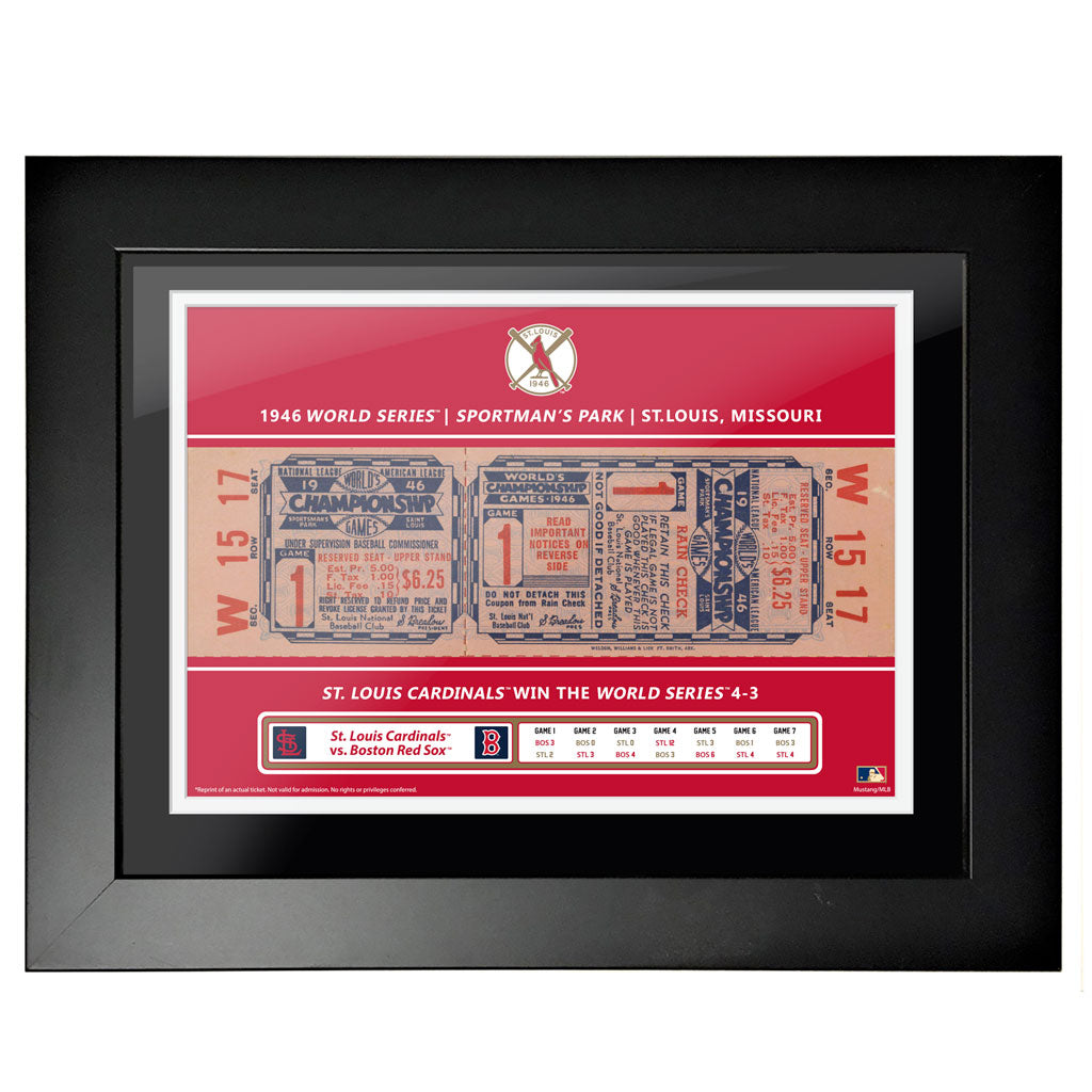 St. Louis Cardinals 12x16 1946 Game 1 World Series Framed Ticket