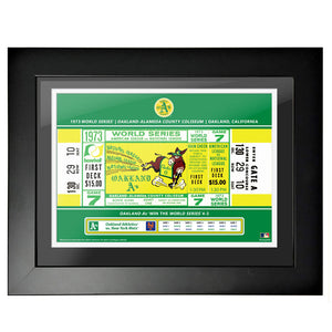 Oakland Athletics 18x24 1973 Game 7 World Series Framed Ticket