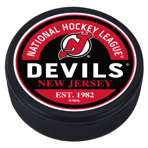 New Jersey Devils Block Textured Puck