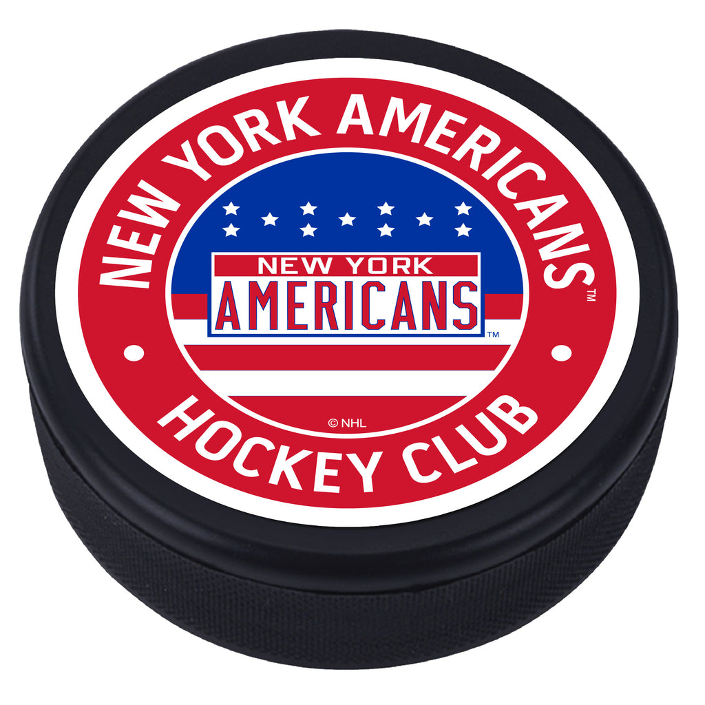 New York Americans Red Vintage Textured Puck