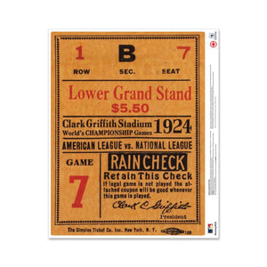 "24"" Repositionable W Series Ticket Washington Nationals Centre 1924G7C"