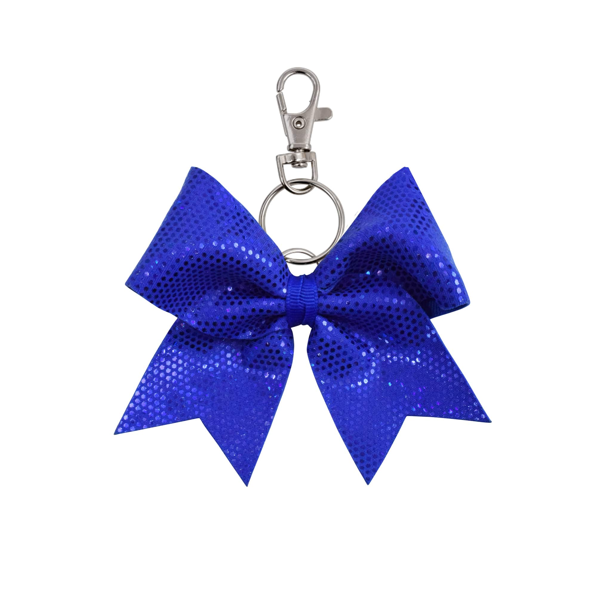 Royal Blue Dotted hairbow keyring