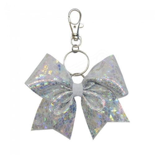 Silver Cracked Ice hairbow keyring