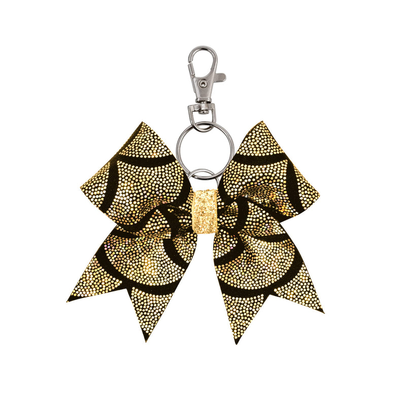 Black/Gold Mermaid Scales hairbow keyring