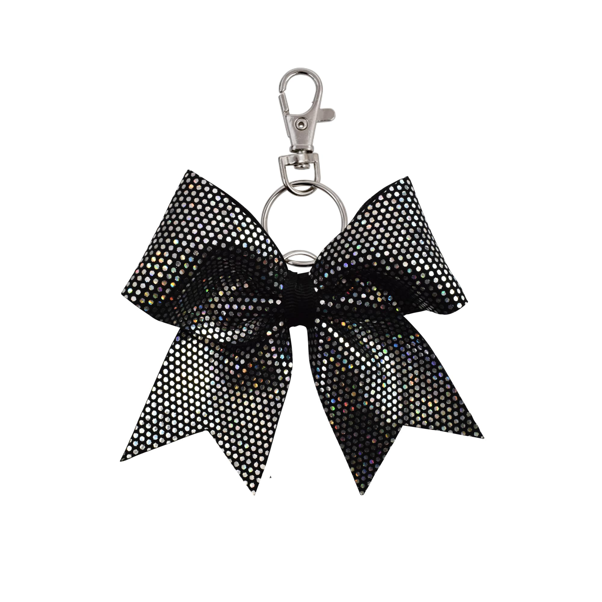 Black/Silver Dotted hairbow keyring