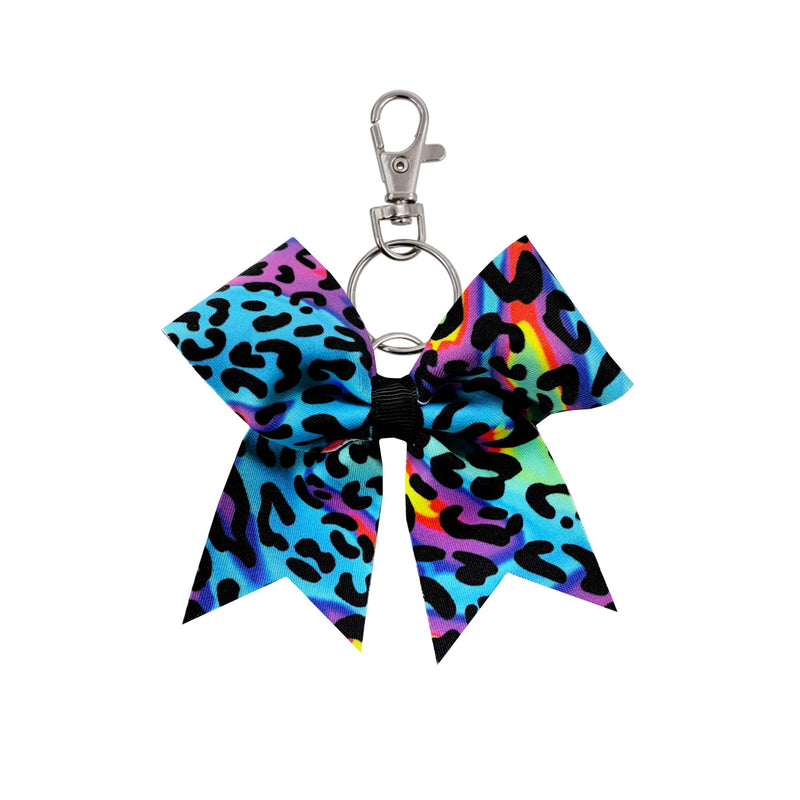 Neon Leopard hairbow keyring