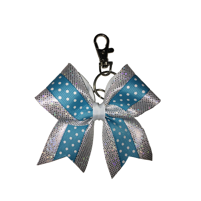 White/Blue Polka Dot hairbow keyring