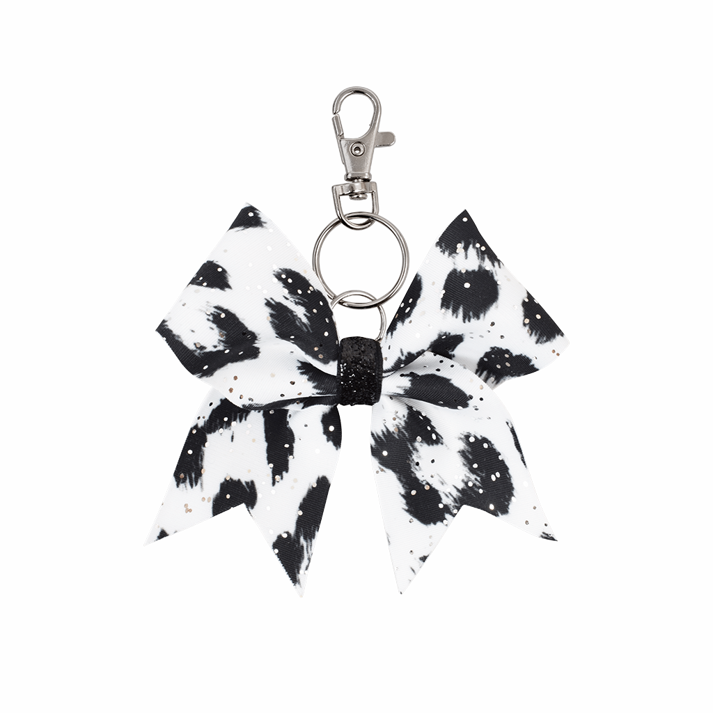 Black & White Leopard hairbow keyring