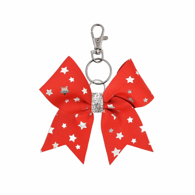 Red Foiled Stars hairbow keyring