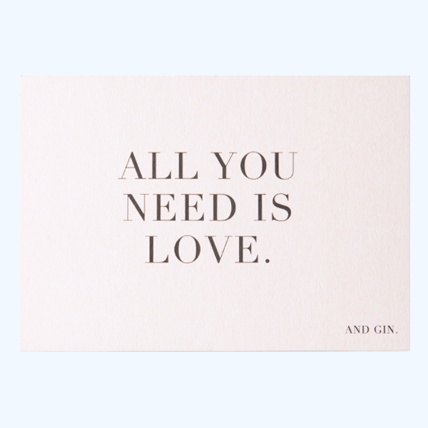 "Postkarte ""All you need is love and gin"" Bürobedarf & Papeterie  Papier ahoi nordery"