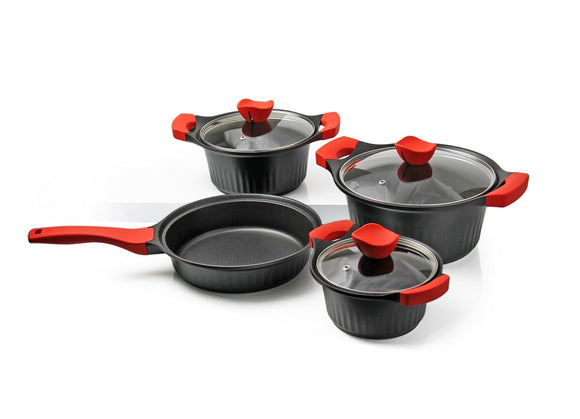 Bellissima Cookware - EasyGrip 7pc - Black/Red