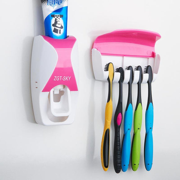 Automatic - Toothpaste Auto-Dispenser Kit with 5 Toothbrush Holder