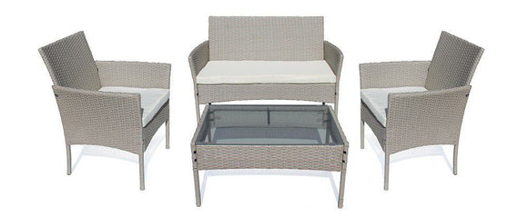 Fine Living - 4 Piece Rattan Jakarta - Light Grey