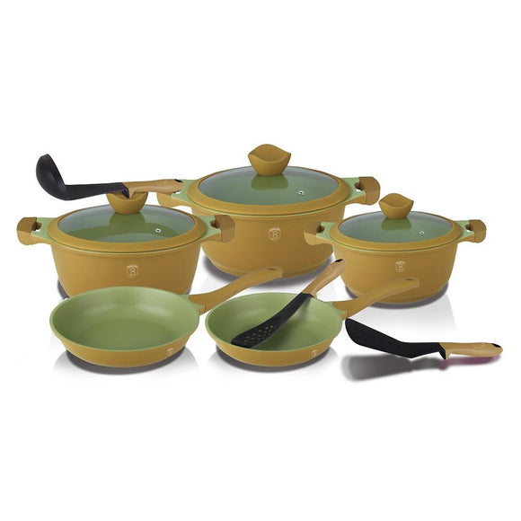 Berlinger Haus 11-Piece Marble Coating Cookware Set - Olive Line