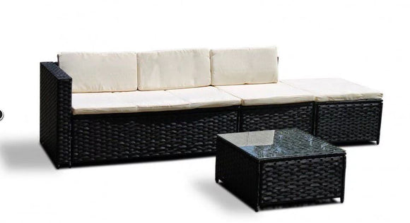 Fine Living - 4 Piece Rattan Livorno Lounge Set - Marble Black
