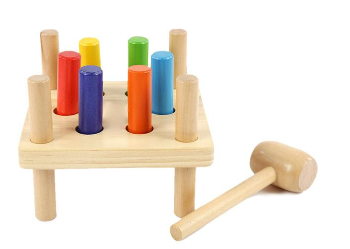 Wooden Toy Hammer Pegs
