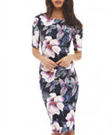 Women Dress Elegant Floral Print Work Business Casual - Recon Fashion