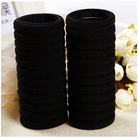 30Pcs Hairbands Black Rubber - Recon Fashion