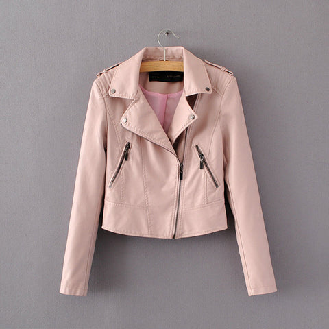 Women Casual Motorcycle Faux Soft Leather Jackets - Recon Fashion