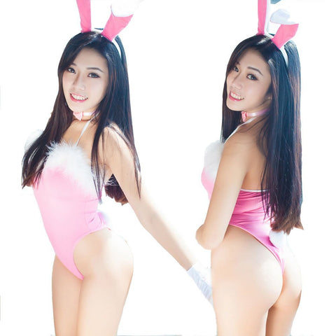 Sexy Lady Cosplay Feather Rabbit Bunny Lingerie with Hair Clasp / Wristband / Tie - Recon Fashion