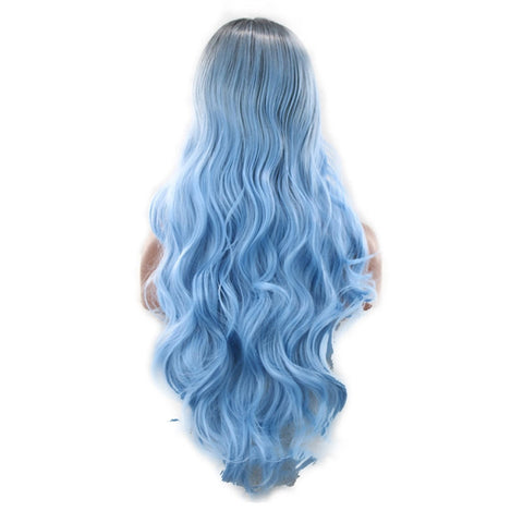 Colorful Long Wave Curly Black Ombre Blue Cosplay Wig - Recon Fashion