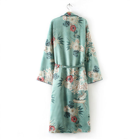 FEITONG Women's Bohemia Floral Tassel Long Kimono - Recon Fashion