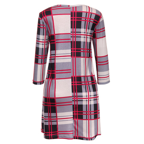 Plaid Print Scoop Neck Casual Swing Tunic Mini Dress With Pockets - Recon Fashion