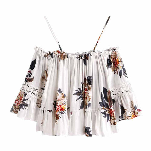 Women Floral Lace Casual Off Shoulder Crop Top Shirt Blouse Cami Top - Recon Fashion