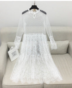 Long Sleeve Perspective Lace Dress - Recon Fashion