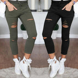 Casual Trousers Black White Stretch Ripped Jeans - Recon Fashion