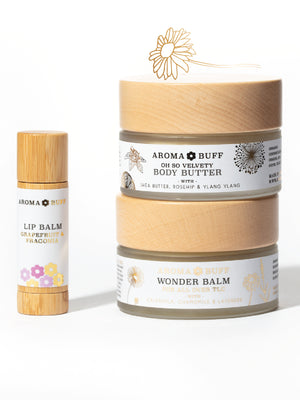 Load image into Gallery viewer, AromaBuff Wonder Balm, Body Butter and Lip Balm Gift Set