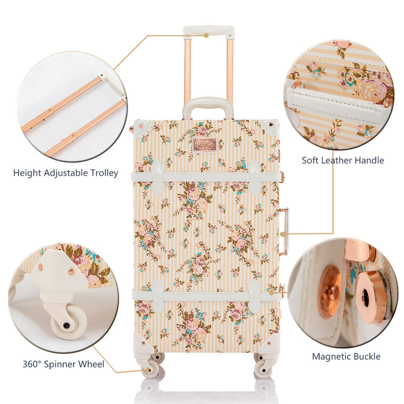 SarahFace 3 Pieces Luggage Sets - Beige Floral's - Cosmetic Case - COTRUNKAGE